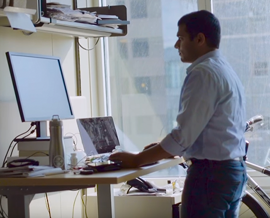 Man at a standing desk